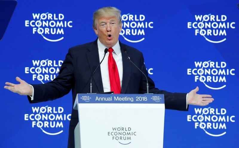 FILE PHOTO: U.S. President Donald Trump delivers a speech during the World Economic Forum (WEF) annual meeting in Davos