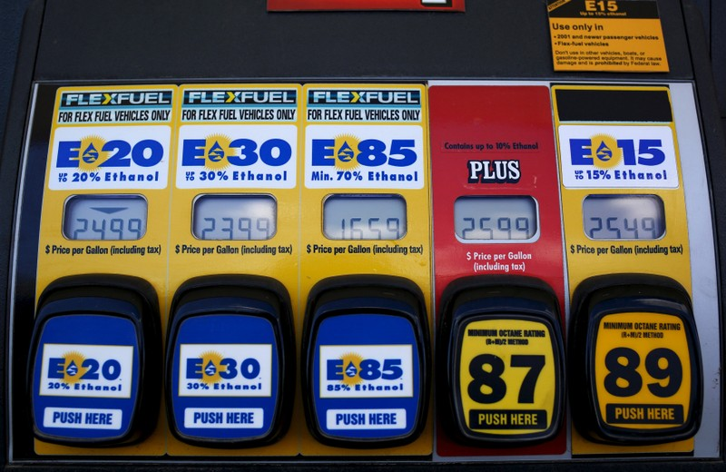 FILE PHOTO: A gas pump displays the price for E15, a gasoline with 15 percent of ethanol, and various other ethanol blends at a gas station in Nevada