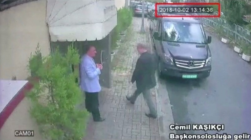 A still image taken from CCTV video and obtained by TRT World claims to show Saudi journalist Khashoggi as he arrives at Saudi Arabia's consulate in Istanbul