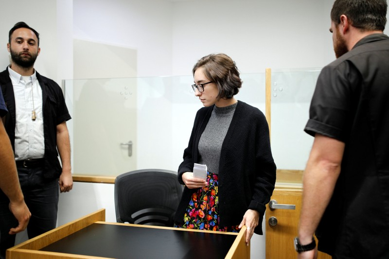 U.S. student Lara Alqasem appears at the district court in Tel Aviv