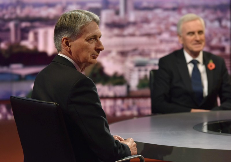Britain's Chancellor of the Exchequer Philip Hammond and Shadow Chancellor of the Exchequer John McDonnell appear on the Marr Show on BBC Television in central London