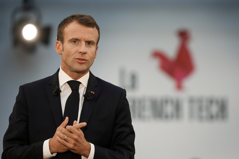 French President Macron speaks as he visits Station F startup campus in Paris