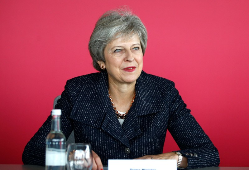 Britain's Prime Minister Theresa May attends a roundtable meeting with business leaders whose companies are inaugural signatories of the Race at Work Charter at the Southbank Centre in London