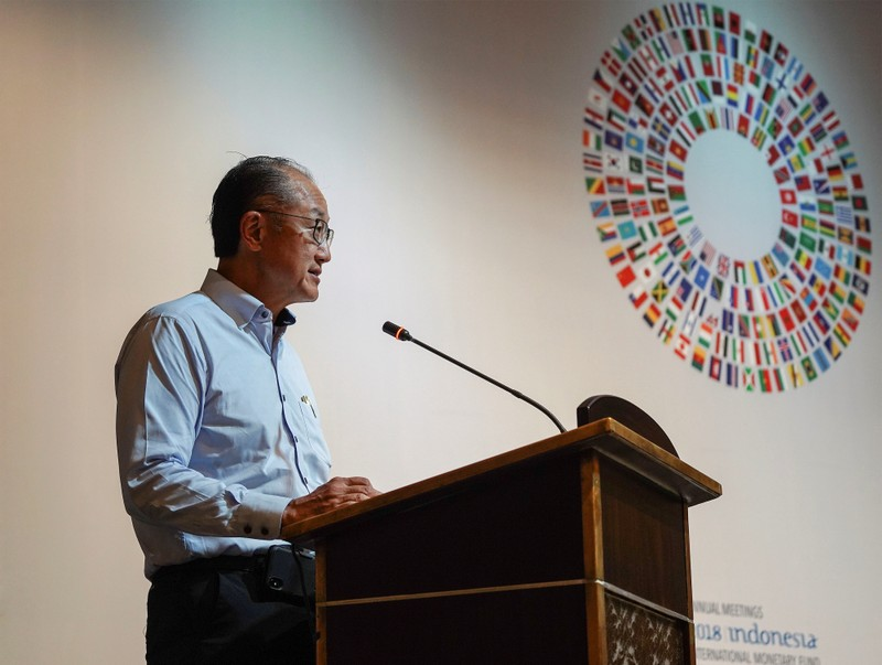 World Bank president Jim Yong Kim talks during a trade conference at the 2018 International Monetary Fund (IMF) World Bank Group Annual Meeting at Nusa Dua in Bali province