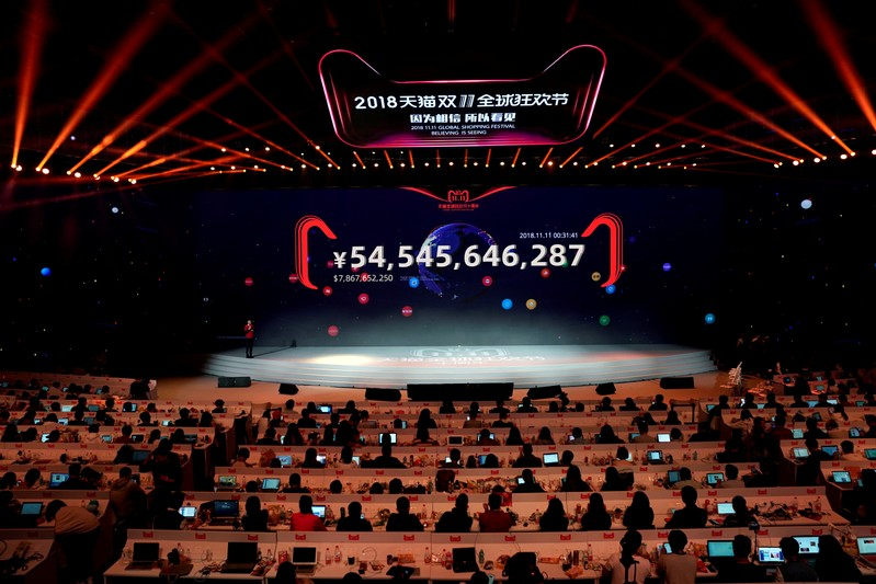 A screen shows the value of goods being transacted at Alibaba Group's 11.11 Singles' Day global shopping festival in Shanghai