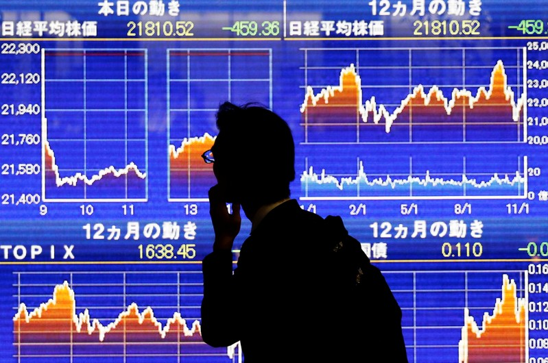 A man looks at an electronic stock quotation board showing Japan's Nikkei average outside a brokerage in Tokyo
