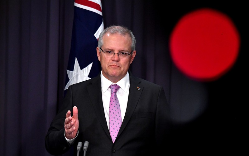 FILE PHOTO - Prime Minister Scott Morrison speaks to the media during a press conference at Parliament House in Canberra