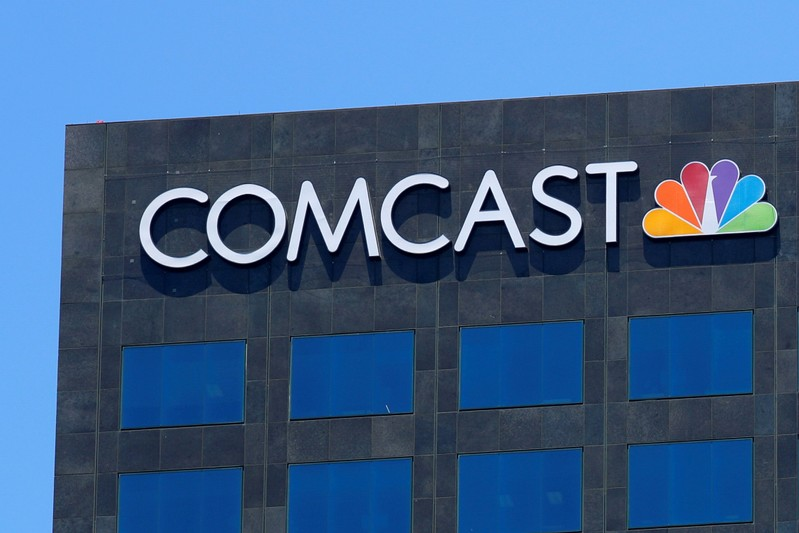 FILE PHOTO: The Comcast NBC logo is shown on a building in Los Angeles