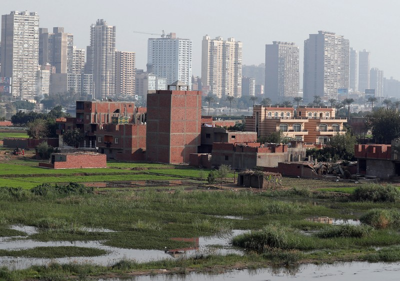 A view of houses and farmland on an island on the River Nile in front of high-rise buildings in Cairo