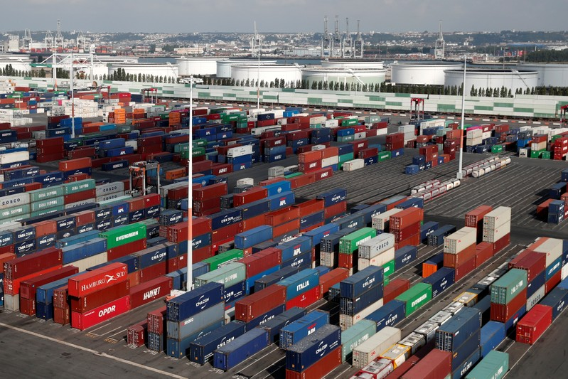 FILE PHOTO - Shipping containers sit stacked at the Port 2000 terminal in the Port of Le Havre