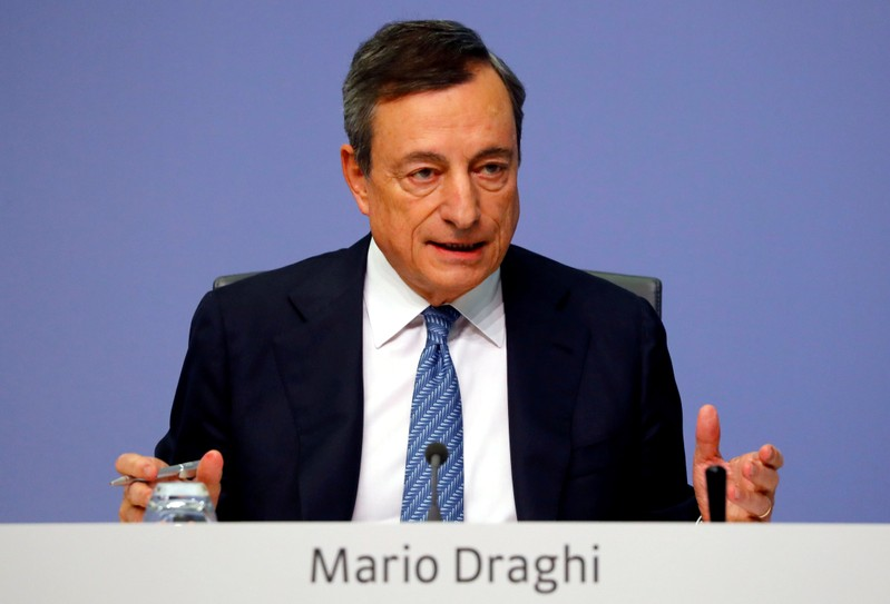 FILE PHOTO: European Central Bank President Mario Draghi speaks during a news conference at ECB headquarters in Frankfurt