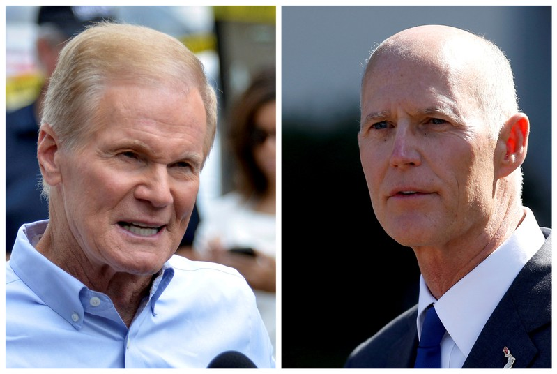 FILE PHOTO: Combination photo of U.S. Senator Bill Nelson and Florida Governor Rick Scott