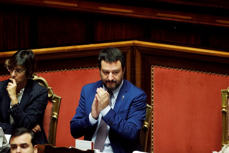 Interior Minister Matteo Salvini gestures before a confidence vote in the upper house Senate in Rome