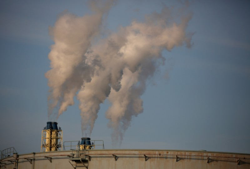 Steam is emitted from a oil refinery in Sodegaura, Japan