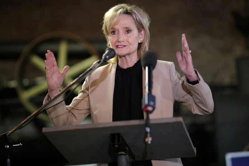 FILE PHOTO: U.S. Senator Cindy Hyde-Smith speaks during a campaign event in Meridian