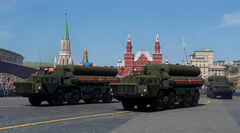 FILE PHOTO - Russian servicemen drive S-400 missile air defence systems during the Victory Day parade at the Red Square in Moscow