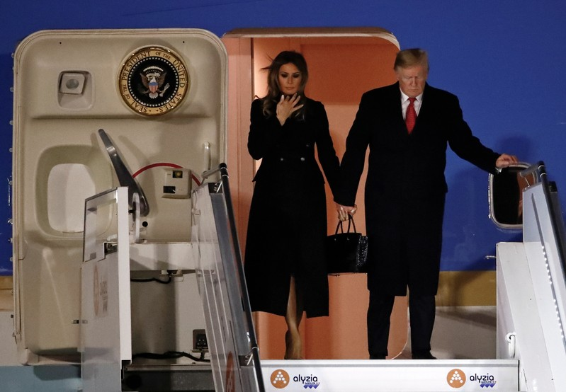 U.S. President Donald Trump and first lady Melania Trump arrive at Orly Airport near Paris