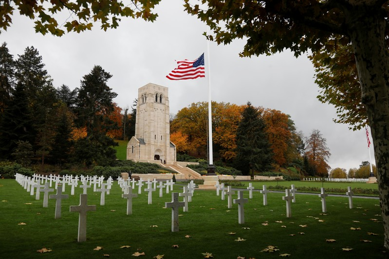 The American flag flies at the Aisne-Marne American Cemetery dedicated to the US soldiers killed in the Belleau Wood battle during World War One at Belleau