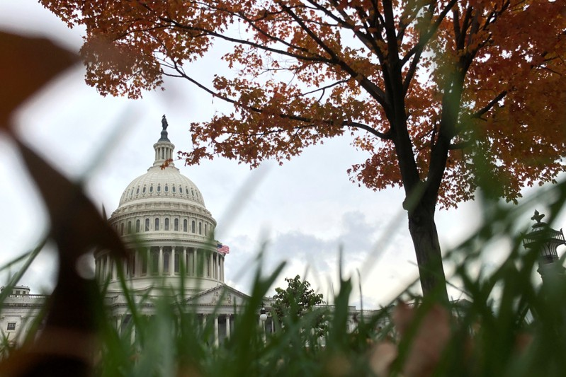 A general view of autumn foliage at the U.S. Capitol in Washington