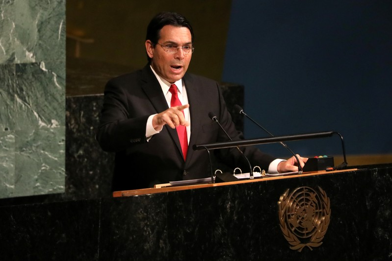 Israeli Ambassador to the United Nations Danny Danon addresses a United Nations General Assembly meeting in New York