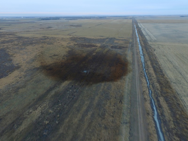 FILE PHOTO: An aerial view of an oilspill which shut down the Keystone pipeline between Canada and the United States in an agricultural area near Amherst South Dakota
