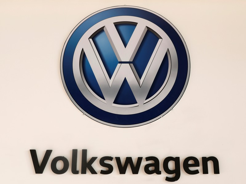 FILE PHOTO - A Volkswagen logo is pictured at the International Auto Show in Mexico City