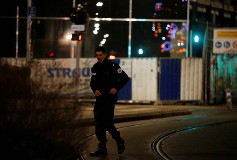 Police secure a street and the surrounding area after a shooting in Strasbourg