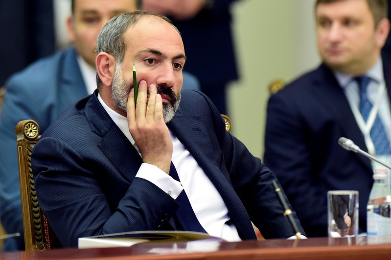 FILE PHOTO: Armenia's acting Prime Minister Pashinyan attends a meeting of the Supreme Eurasian Economic Council in St. Petersburg