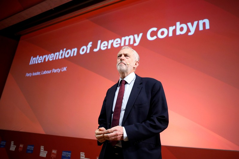 British opposition leader Jeremy Corbyn speaks during the Party of European Socialists annual meeting in Lisbon