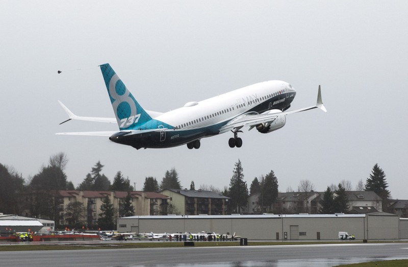 FILE PHOTO:A Boeing 737 MAX takes off during a flight test in Renton, Washington