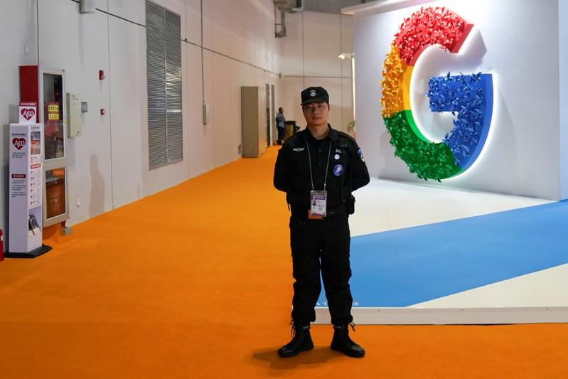 A Google sign is seen during the China International Import Expo (CIIE), at the National Exhibition and Convention Center in Shanghai