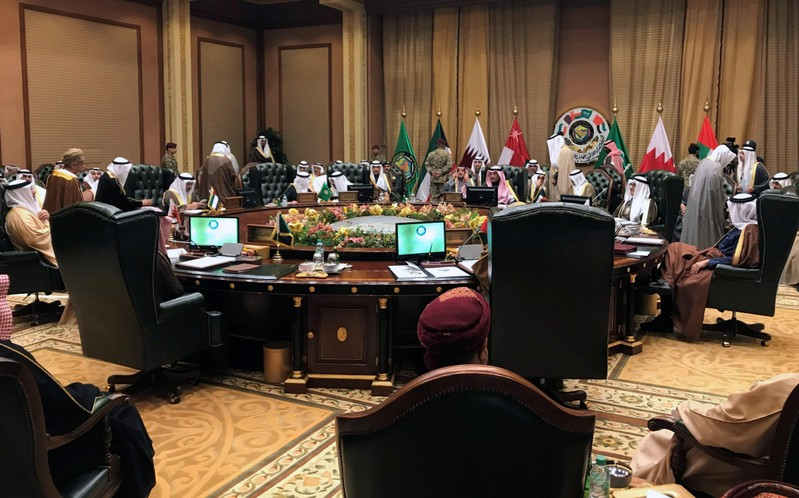 Foreign Ministers of the Gulf Cooperation Council (GCC) attend a meeting in Bayan Palace, in Kuwait City