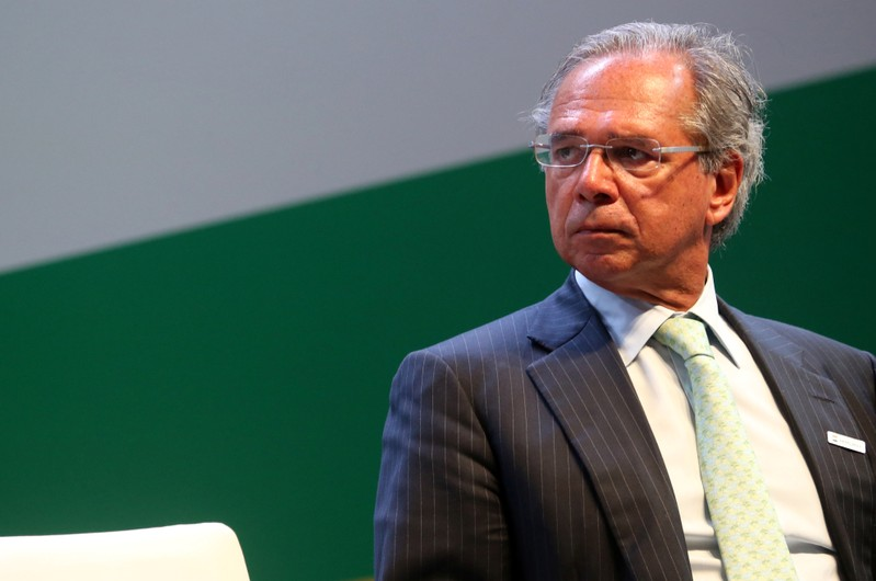 Brazil's Economy Minister Paulo Guedes attends a ceremony at the Brazil's state-run oil company Petrobras in Rio de Janeiro