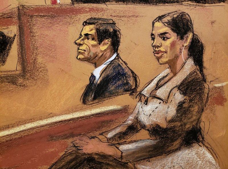 Emma Coronel Aispuro, the wife of Joaquin Guzman, looks on in this courtroom sketch during the Brooklyn federal court trial of accused Mexican durg lord Joaquin