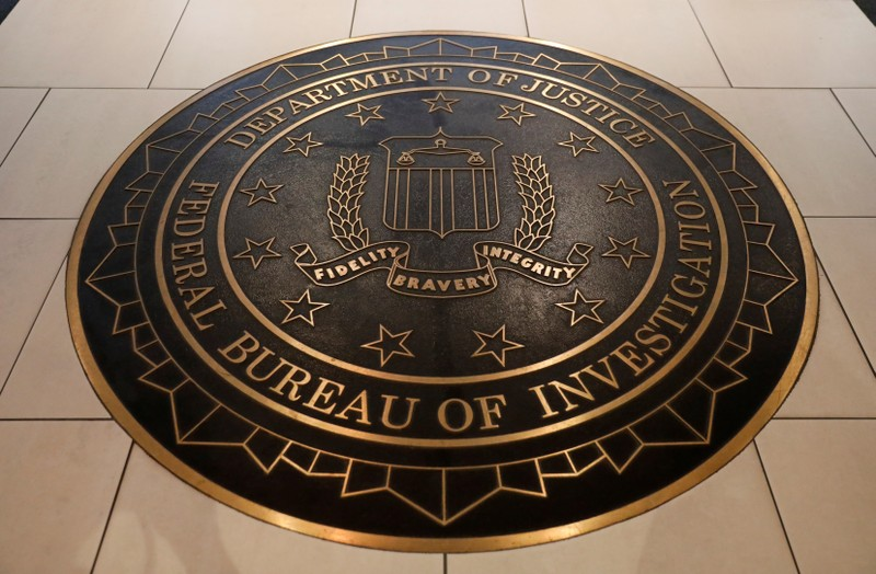 The Federal Bureau of Investigation seal is seen at FBI headquarters in Washington