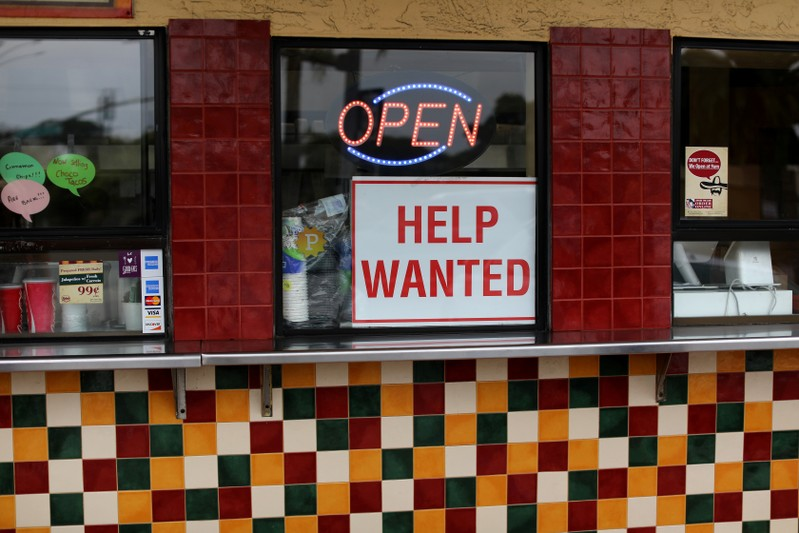 FILE PHOTO: Help Wanted sign at taco stand in California