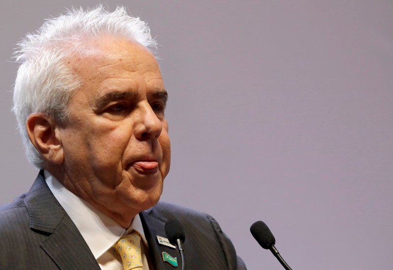 Castello Branco, the new CEO of Brazil's state-run oil company Petrobras, is seen at a ceremony marking his taking over the firm, in Rio de Janeiro