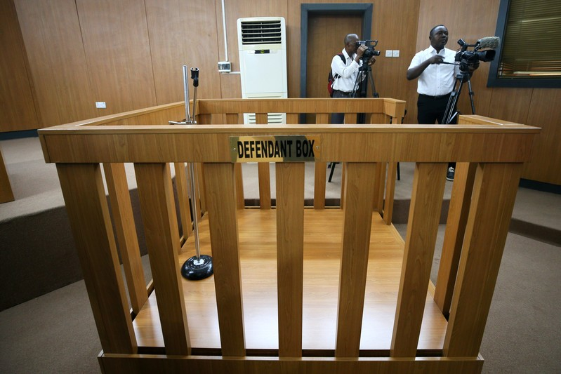 An empty defendant dock is pictured at the Code of Conduct Tribunal in Abuja