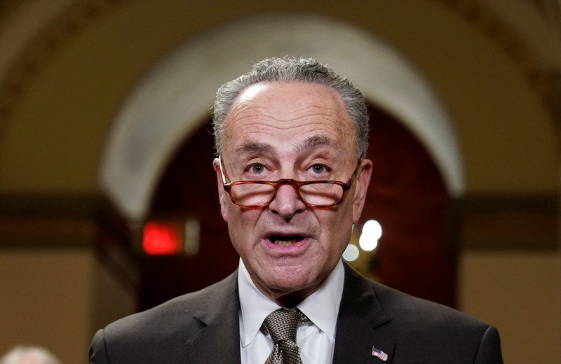Senate Minority Leader Chuck Schumer (D-NY) speaks to the media ahead of a possible partial government shut down in Washington