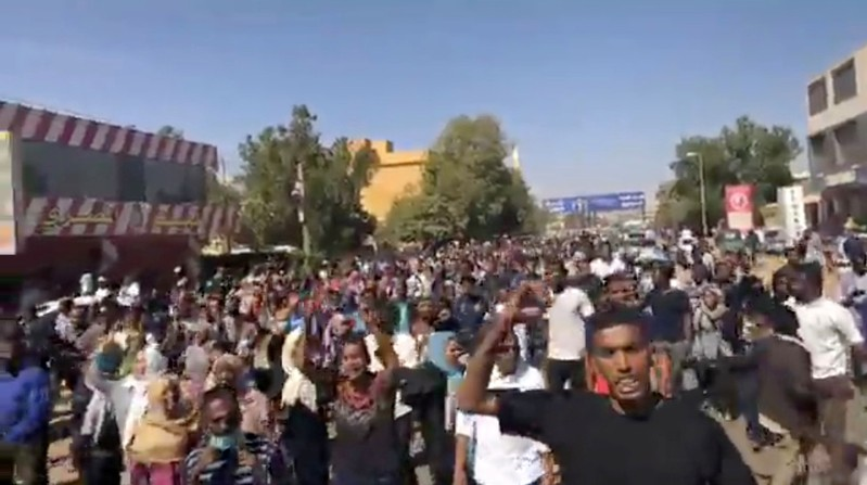 People participate in an anti-government protest in Omdurman