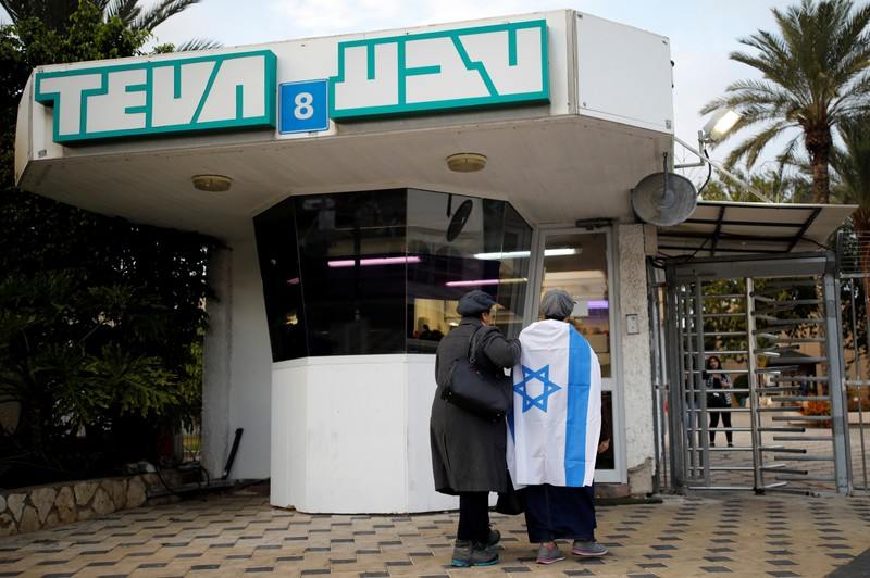 Workers of Teva Pharmaceutical Industries stand at the entrance to their facility in Ashdod, Israel