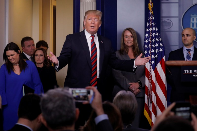 U.S. President Trump speaks to reporters about border security in the Briefing Room at the White House in Washington