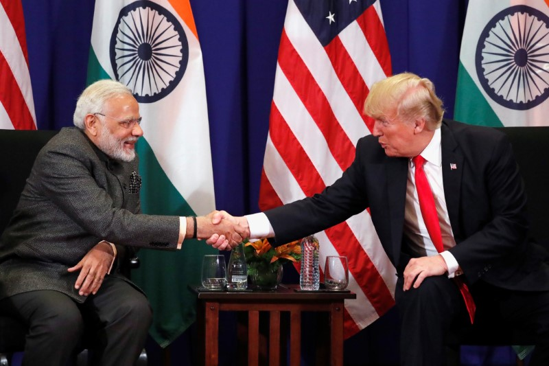 U.S. President Donald Trump shakes hands with India's Prime Minister Narendra Modi during a bilateral meeting alongside the ASEAN Summit in Manila