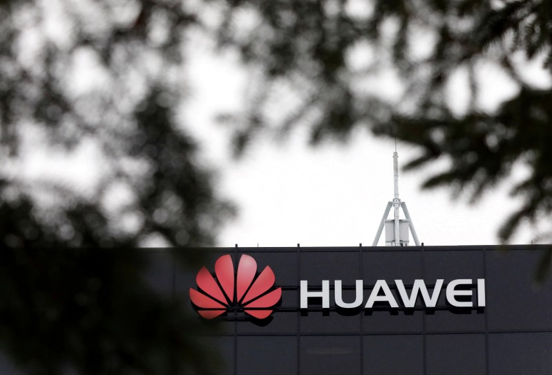 FILE PHOTO: The Huawei logo is pictured outside their research facility in Ottawa