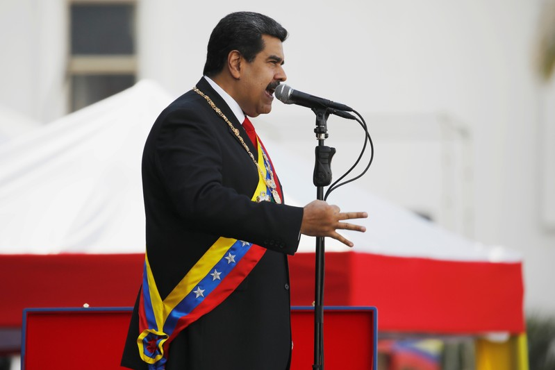 FILE PHOTO: Venezuelan President Nicolas Maduro speaks during a ceremony, after his swearing-in for a second presidential term, at Fuerte Tiuna military base in Caracas