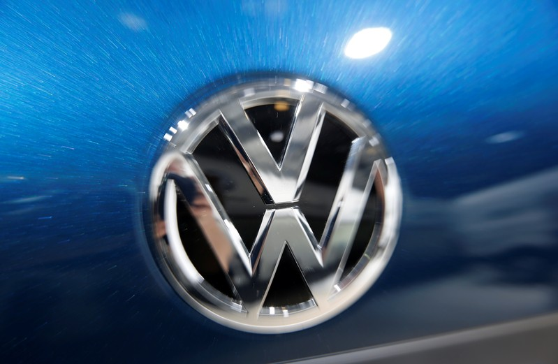 Volkswagen logo is pictured during the Volkswagen Group's annual general meeting in Berlin