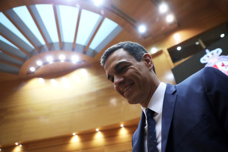 Spanish PM Sanchez arrives for a session at the Senate in Madrid