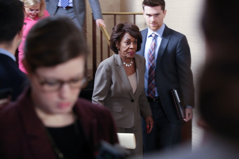 U.S. Representative Waters departs after a House Democratic party caucus meeting at the U.S. Capitol in Washington