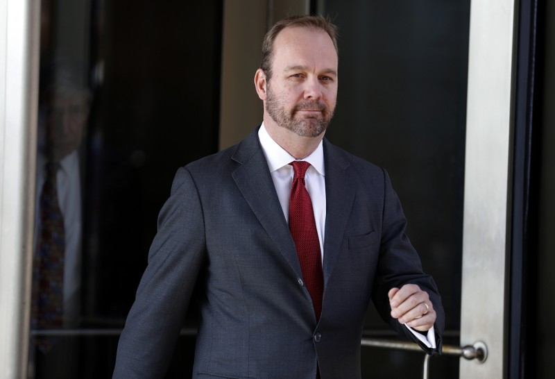 Former Trump campaign aide Rick Gates departs after bond hearing at U.S. District Court in Washington