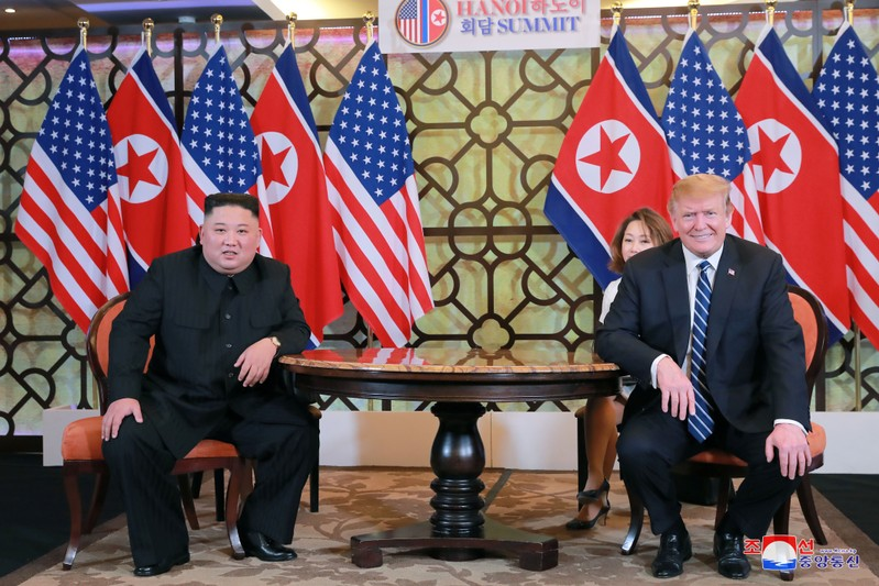 North Korea's leader Kim Jong Un and U.S. President Donald Trump meet for the second North Korea-U.S. summit in Hanoi